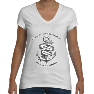 womans rusty anchor white v-neck
