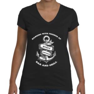 Womans rusty anchor black v-neck